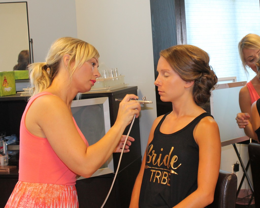Airbrush make-up being applied